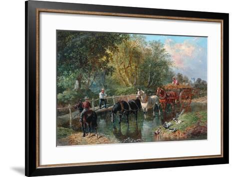 Crossing the Stream-John Frederick Herring Jnr-Framed Art Print