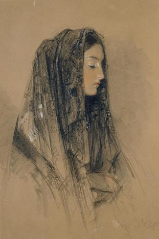 Head of an Italian Girl in a Mantilla-John Frederick Lewis-Stretched Canvas Print