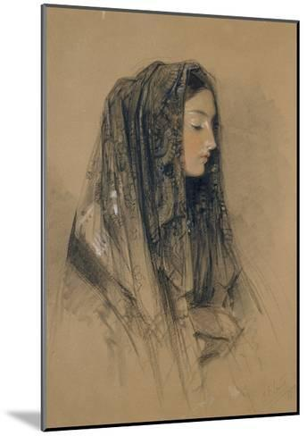Head of an Italian Girl in a Mantilla-John Frederick Lewis-Mounted Giclee Print