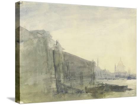 The Thames, Early Morning, Toward St. Paul'S, C.1849 (W/C with Graphite on Paper)-John William Inchbold-Stretched Canvas Print