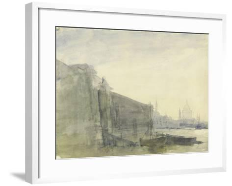The Thames, Early Morning, Toward St. Paul'S, C.1849 (W/C with Graphite on Paper)-John William Inchbold-Framed Art Print