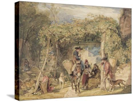 Figures and Animals in a Vineyard, C.1829 (W/C, Gouache and Graphite on Paper)-John Frederick Lewis-Stretched Canvas Print