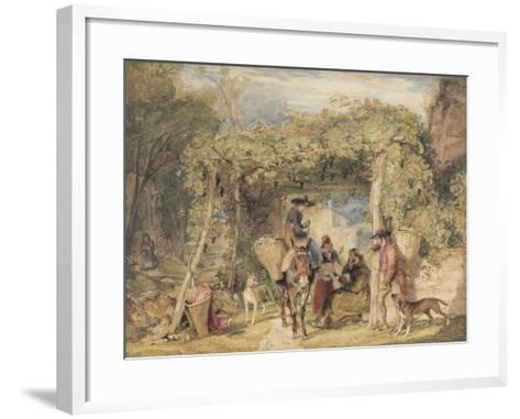 Figures and Animals in a Vineyard, C.1829 (W/C, Gouache and Graphite on Paper)-John Frederick Lewis-Framed Art Print
