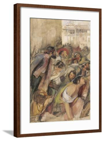 Study for the Proclamation of Don Carlos, C.1834-28-John Frederick Lewis-Framed Art Print