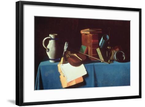Tabletop with Violin-John Frederick Peto-Framed Art Print