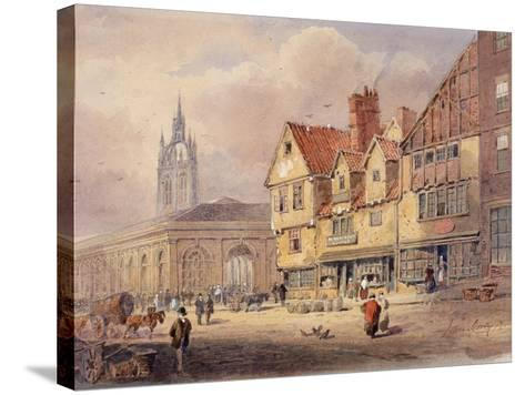 Old Buildings, Union Street and Corn Exchange before Town Hall Was Built (Bodycolour on Paper)-John Storey-Stretched Canvas Print