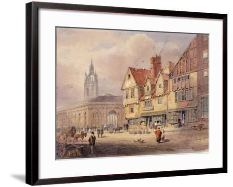 Old Buildings, Union Street and Corn Exchange before Town Hall Was Built (Bodycolour on Paper)-John Storey-Framed Art Print