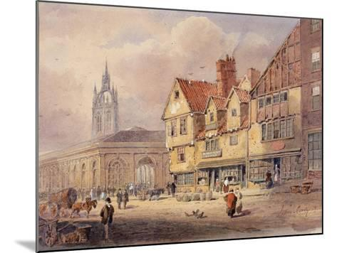 Old Buildings, Union Street and Corn Exchange before Town Hall Was Built (Bodycolour on Paper)-John Storey-Mounted Giclee Print