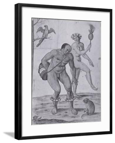 Brazilian Indians Dancing-John White-Framed Art Print