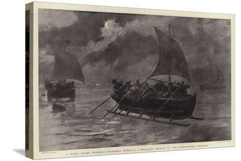 A Stern Chase, Prussian Excisemen Pursuing a Smuggling Ice-Boat on the Russo-German Frontier-Joseph Nash-Stretched Canvas Print