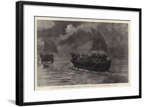 A Stern Chase, Prussian Excisemen Pursuing a Smuggling Ice-Boat on the Russo-German Frontier-Joseph Nash-Framed Art Print