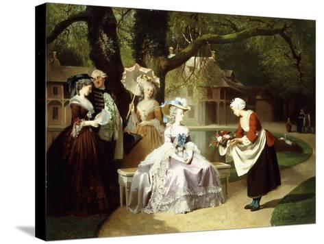 Marie Antoinette and Louis XVI in the Tuileries Garden with Madame Lambale, 1857-Joseph Caraud-Stretched Canvas Print