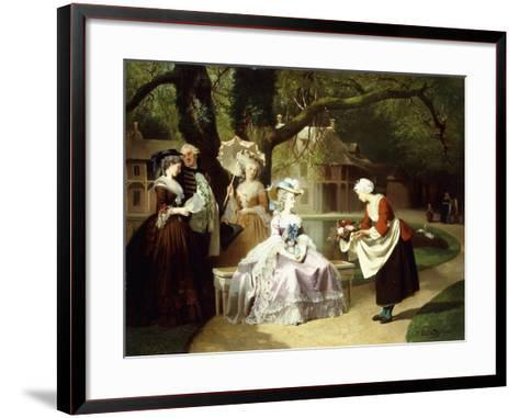 Marie Antoinette and Louis XVI in the Tuileries Garden with Madame Lambale, 1857-Joseph Caraud-Framed Art Print