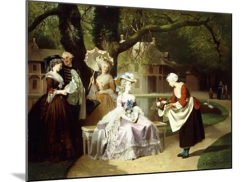 Marie Antoinette and Louis XVI in the Tuileries Garden with Madame Lambale, 1857-Joseph Caraud-Mounted Giclee Print