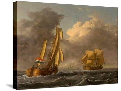 Dutch Galliots Off the Coast-John Wilson Carmichael-Stretched Canvas Print