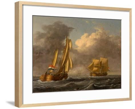 Dutch Galliots Off the Coast-John Wilson Carmichael-Framed Art Print