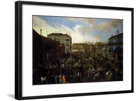 Bull Hunting in Campo San Polo in Venice-Joseph Heinz the Younger-Framed Art Print