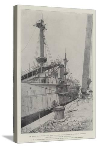 The Building of a Battle-Ship-Joseph Holland Tringham-Stretched Canvas Print