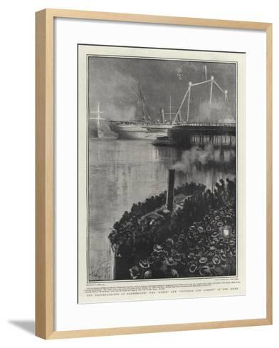 The Illuminations at Portsmouth, the Ophir and Victoria and Albert at the Jetty-Joseph Nash-Framed Art Print