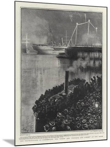 The Illuminations at Portsmouth, the Ophir and Victoria and Albert at the Jetty-Joseph Nash-Mounted Giclee Print