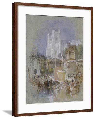 Nantes, 1826 - 1830 (Watercolour with Bodycolour and Pen and Black and Brown Ink)-J^ M^ W^ Turner-Framed Art Print