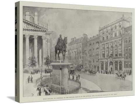 Head Offices, in Cornhill, of the British Branch of the Mutual Life Insurance Company of New York-Joseph Holland Tringham-Stretched Canvas Print