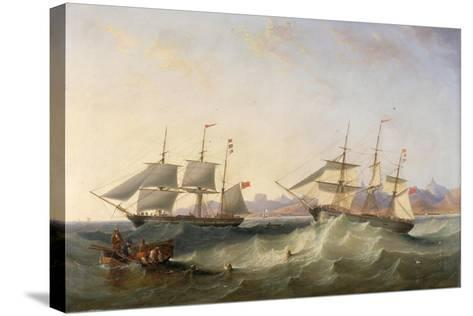 A Clipper and an East Indiaman Leaving Port-John Wilson Carmichael-Stretched Canvas Print