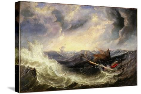 Seascape with Wreckage-John Wilson Carmichael-Stretched Canvas Print