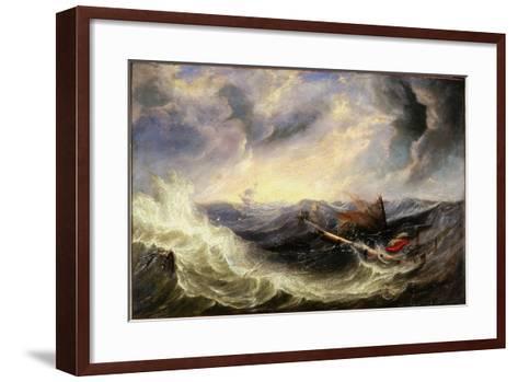 Seascape with Wreckage-John Wilson Carmichael-Framed Art Print