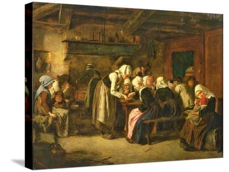 The Crepe Seller on Market Day in Quimperle-Jules Trayer-Stretched Canvas Print