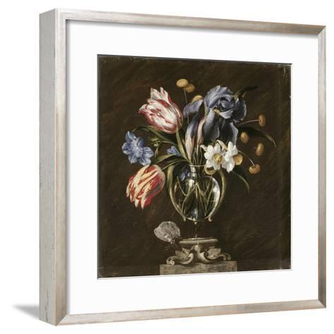 Tulips, Daffodils, Irises and Other Flowers in a Glass Vase on a Sculpted Stand, with a Butterfly-Juan de Arellano-Framed Art Print