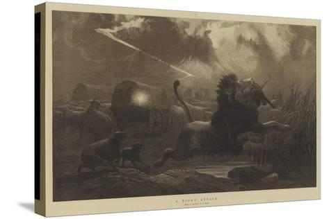 A Night Attack-Joseph Wolf-Stretched Canvas Print