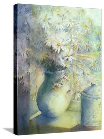 Asters - Snowsprite in Jug on Window Sill-Karen Armitage-Stretched Canvas Print