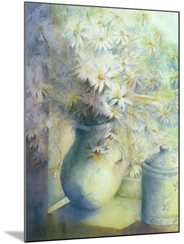 Asters - Snowsprite in Jug on Window Sill-Karen Armitage-Mounted Giclee Print