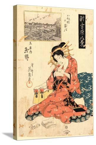 Nihonzutsumi No Rakugan Tamaya Uchi Tamagushi-Keisai Eisen-Stretched Canvas Print