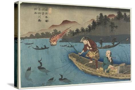 No.55 Cormorant Fishing Boat at Nagae River Near Koto Station, 1830-1844-Keisai Eisen-Stretched Canvas Print