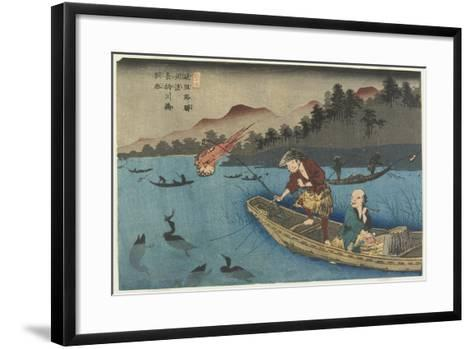 No.55 Cormorant Fishing Boat at Nagae River Near Koto Station, 1830-1844-Keisai Eisen-Framed Art Print