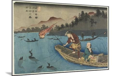 No.55 Cormorant Fishing Boat at Nagae River Near Koto Station, 1830-1844-Keisai Eisen-Mounted Giclee Print