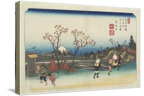No.5: Distant View of Mt. Fuji as Seen from Omiya Station, 1830-1844-Keisai Eisen-Stretched Canvas Print