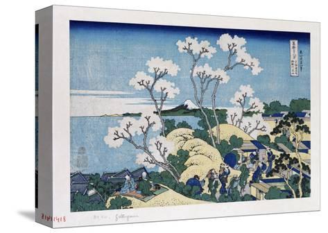Fuji from Gotenyama at Shinagawa on the Tokaido'-Katsushika Hokusai-Stretched Canvas Print