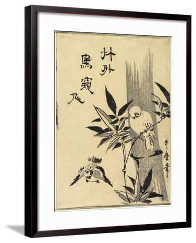 Sparrows on Bamboo Branch, C. 1781-1806-Kitagawa Utamaro-Framed Art Print