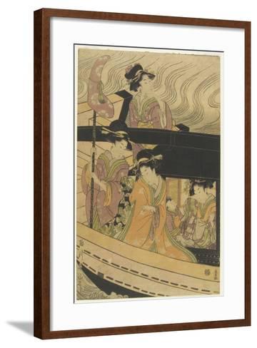 Four Courtesans and an Attendant Girl on Boat-Kikukawa Eizan-Framed Art Print