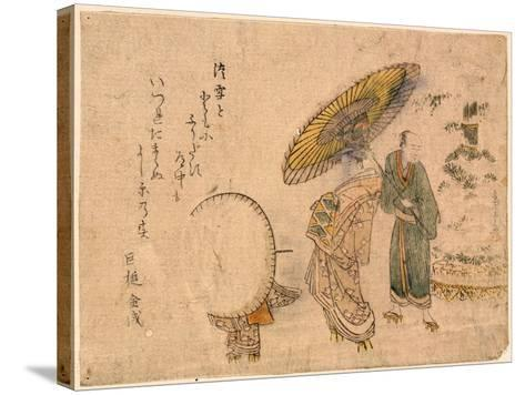 Yuki No Shogatsu Oiran Dochu-Kubo Shunman-Stretched Canvas Print