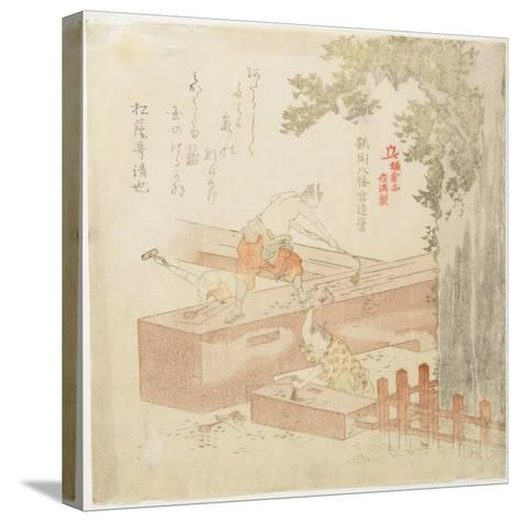 Building the Tsurugaoka Machimangu Shrine-Kubo Shunman-Stretched Canvas Print