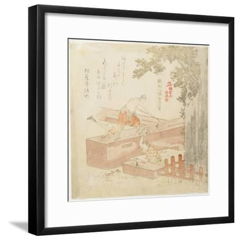 Building the Tsurugaoka Machimangu Shrine-Kubo Shunman-Framed Art Print