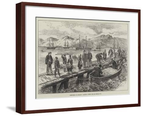 Sketches in Iceland, Landing Dried Cod at Reykjavik-L. Huard-Framed Art Print