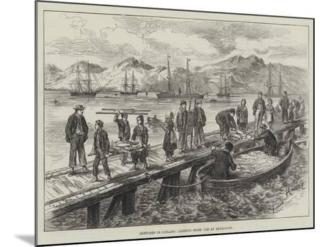 Sketches in Iceland, Landing Dried Cod at Reykjavik-L. Huard-Mounted Giclee Print