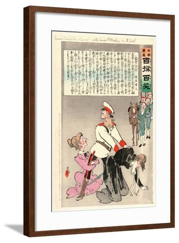 General Kuropatkin and His Staff Joyfully Leaving St. Petersburg for the Front-Kobayashi Kiyochika-Framed Art Print