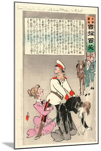 General Kuropatkin and His Staff Joyfully Leaving St. Petersburg for the Front-Kobayashi Kiyochika-Mounted Giclee Print