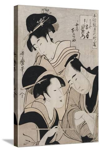 A Triple Portrait of Ohan of the Shinanoya-Kitagawa Utamaro-Stretched Canvas Print